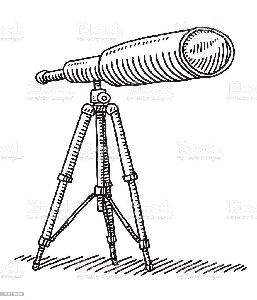 Telescope On Tripod Drawing vector art illustration