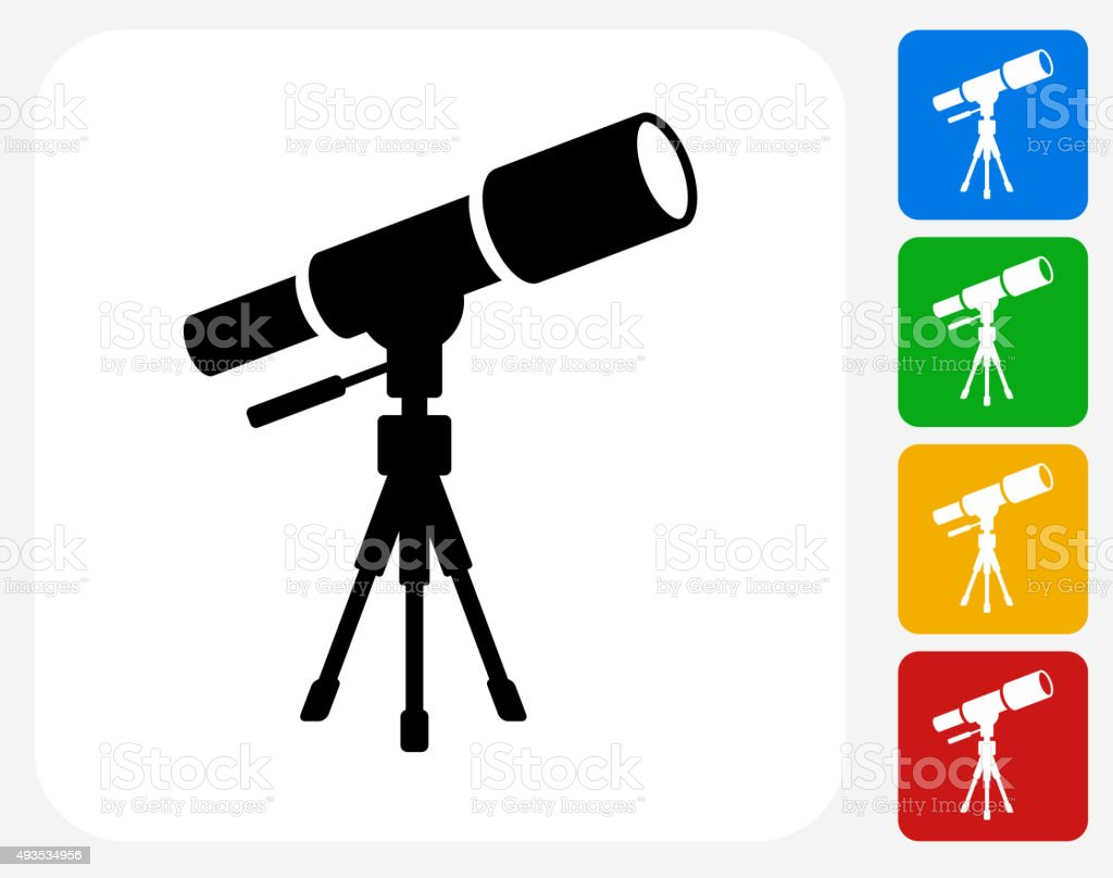 Telescope on Tripod Icon Flat Graphic Design vector art illustration