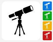 Telescope on Tripod Icon Flat Graphic Design