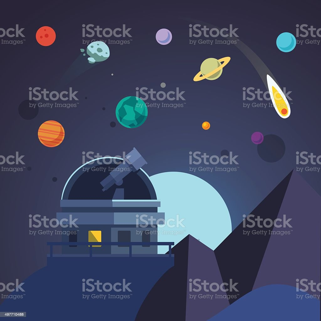 Telescope sits in an open observatory dome vector art illustration