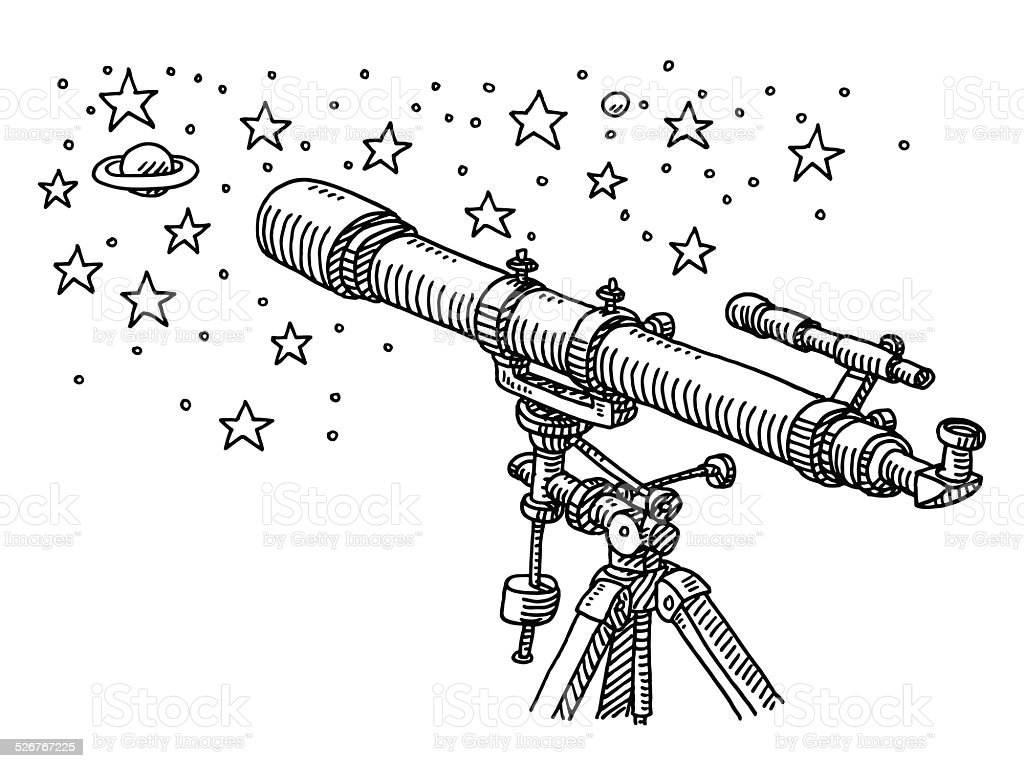 Telescope Space Exploration Stars Drawing vector art illustration