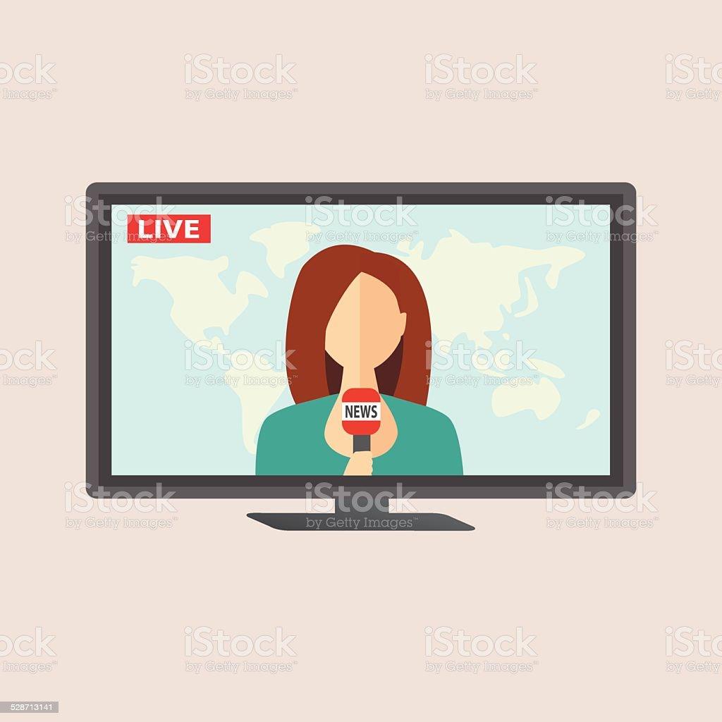 Television anchorwoman at studio during live broadcasting vector art illustration