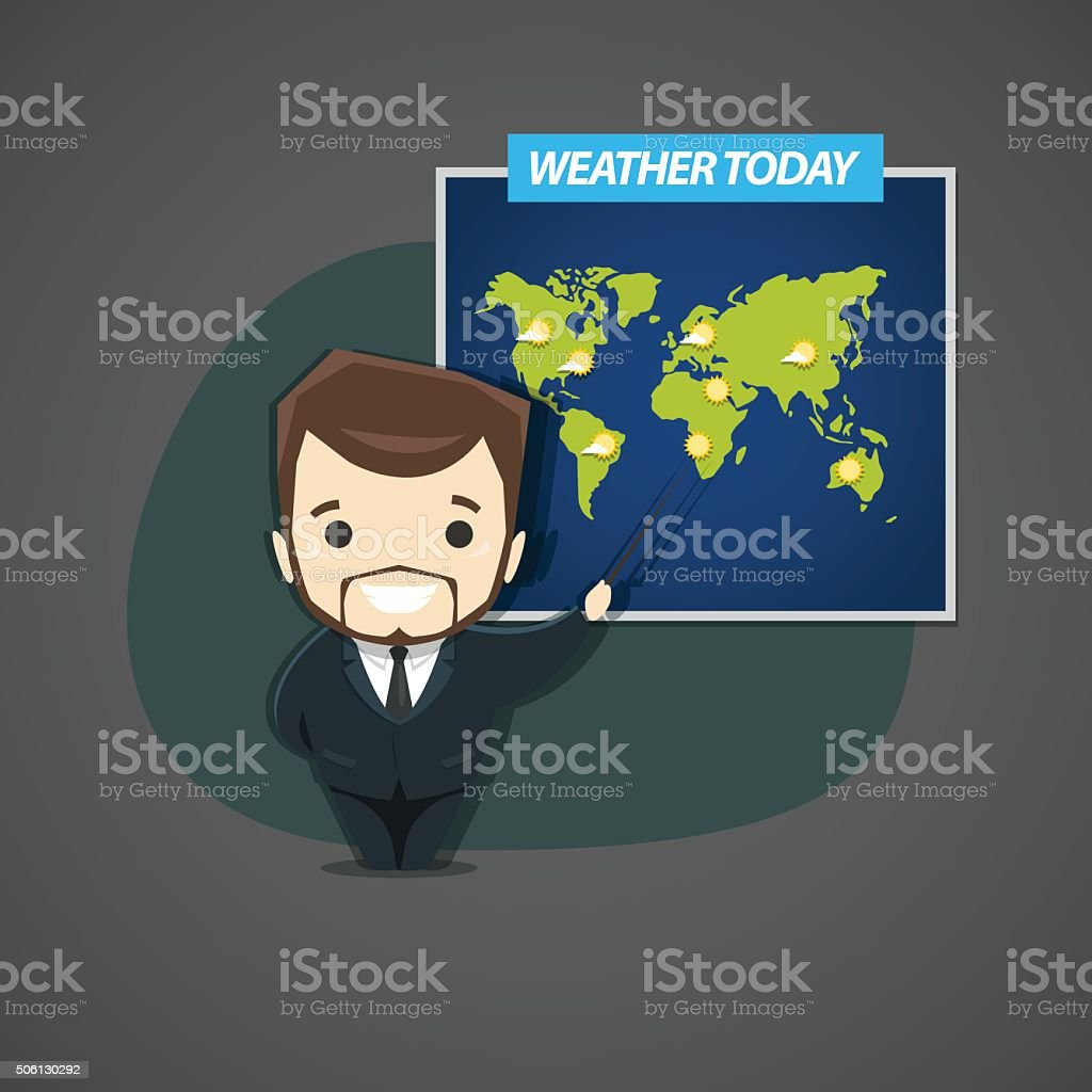 Television announcer talks about the weather standing next to th vector art illustration