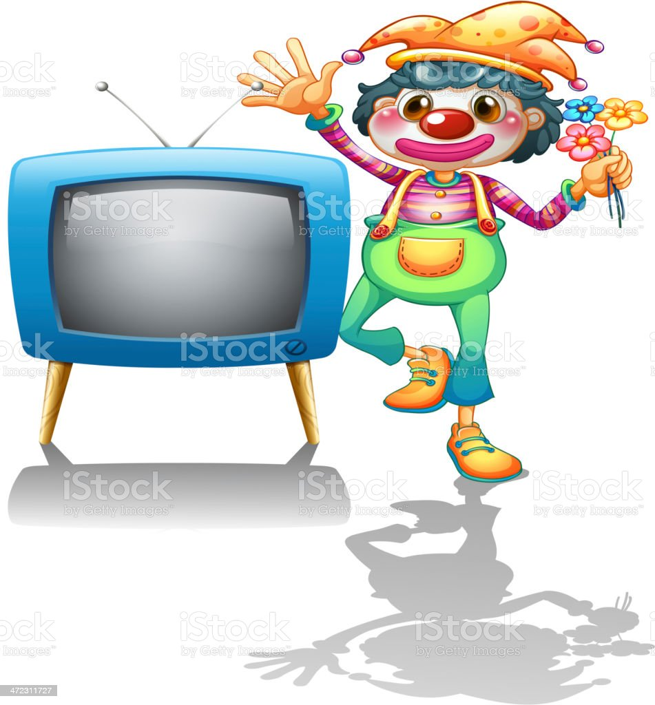 Television beside a female clown royalty-free stock vector art