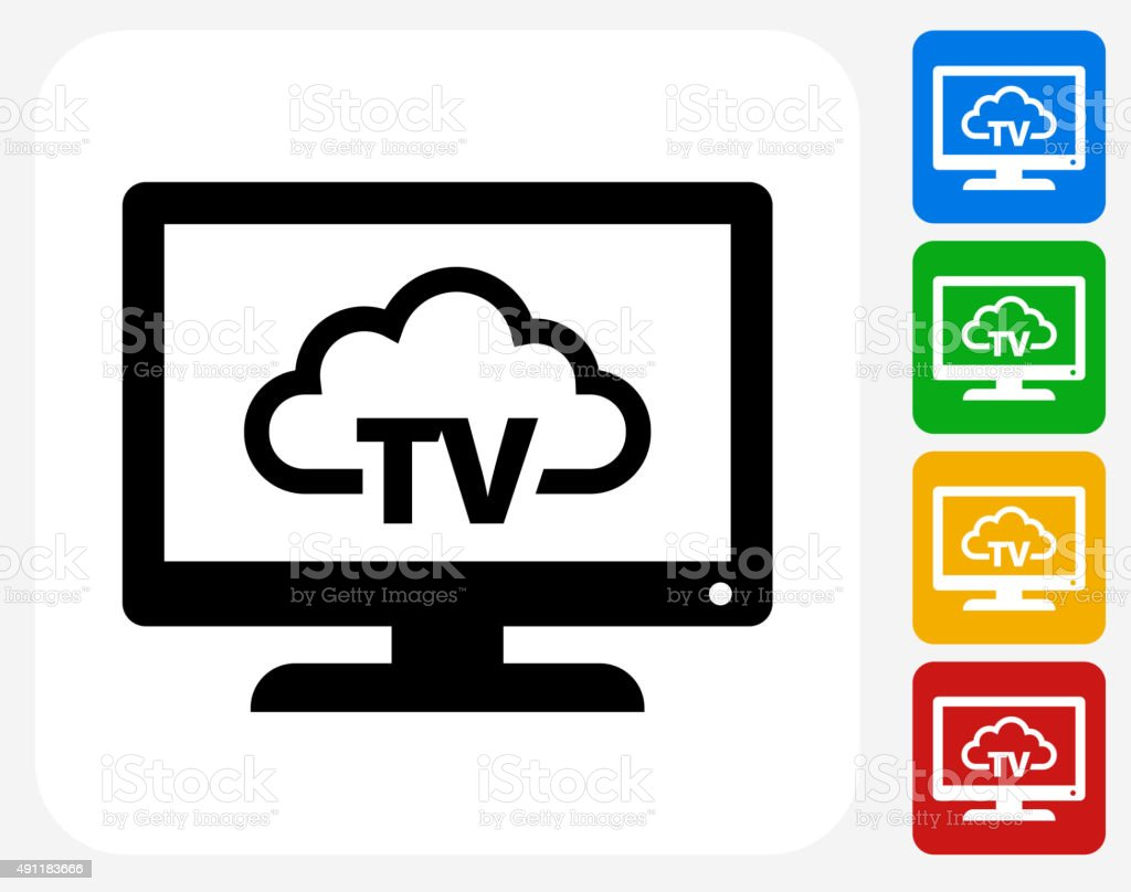 Television Cloud Computing Icon Flat Graphic Design vector art illustration
