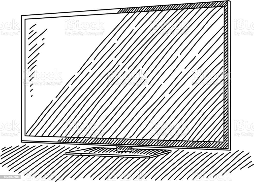 HD Television Drawing vector art illustration