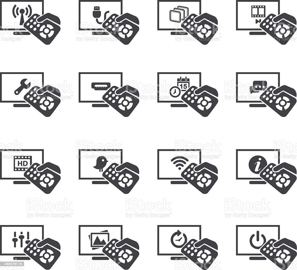 Television Functions Silhouette icons 1 vector art illustration