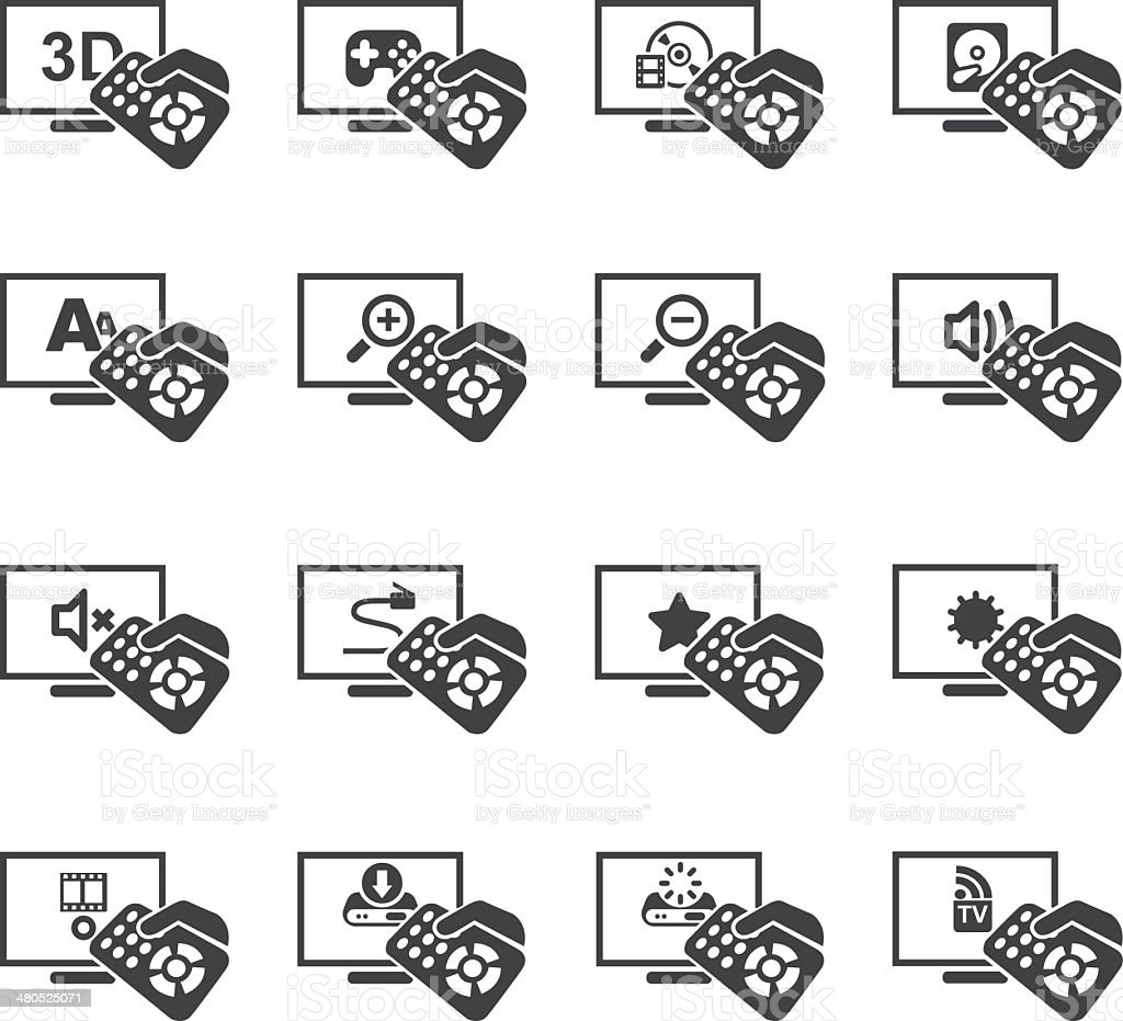 Television Functions Silhouette icons 2 vector art illustration