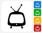 Television Icon Flat Graphic Design