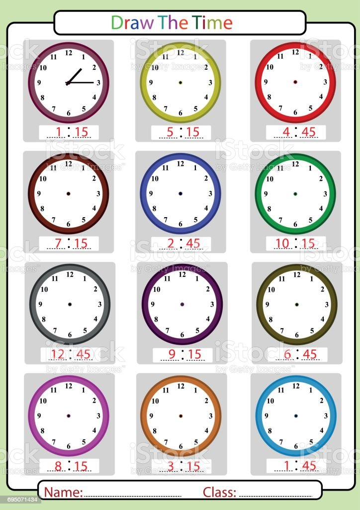 Telling the time, Quarter hours vector art illustration