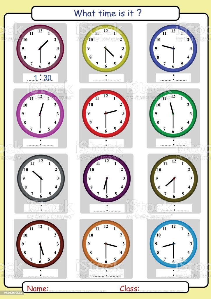Telling the time, what is the time, Half hours vector art illustration