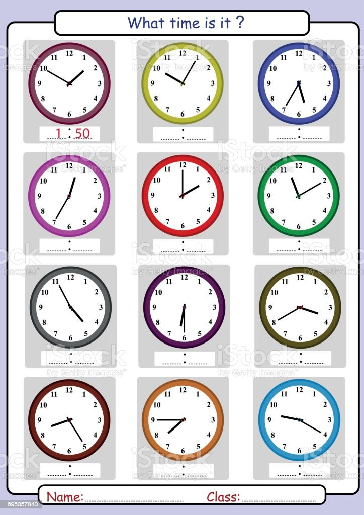 Telling the time, what time is it vector art illustration