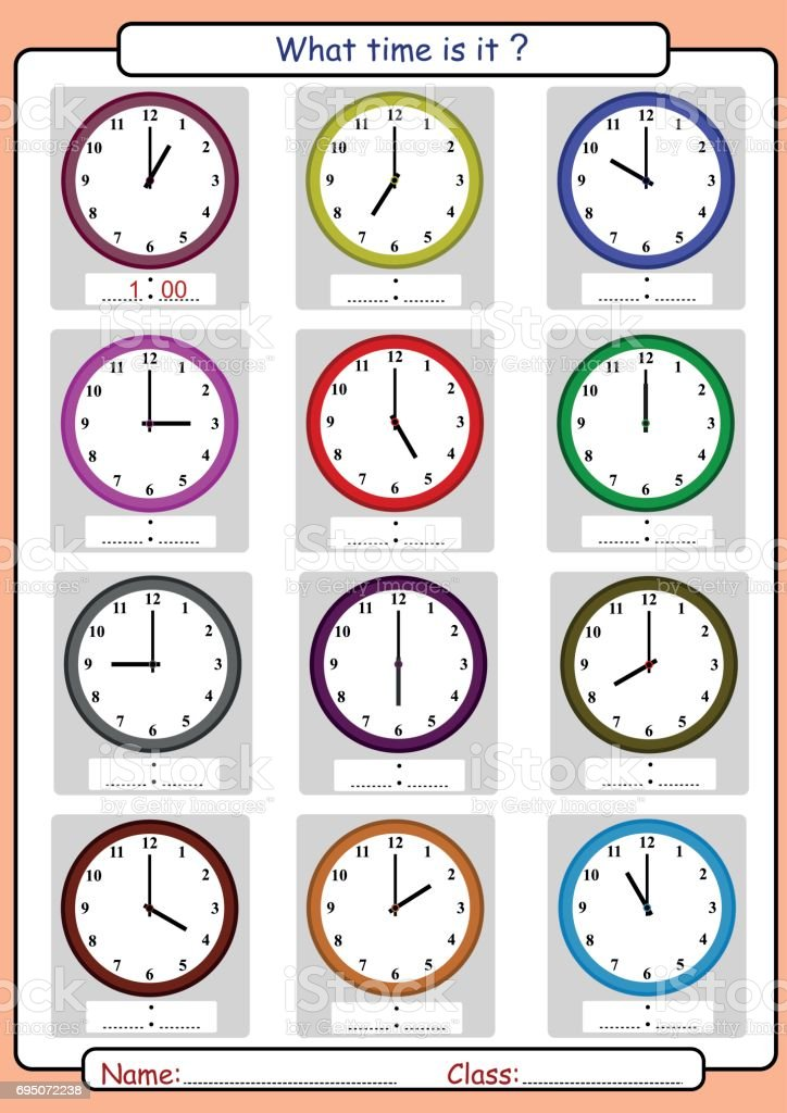 telling time worksheet, what time is it vector art illustration