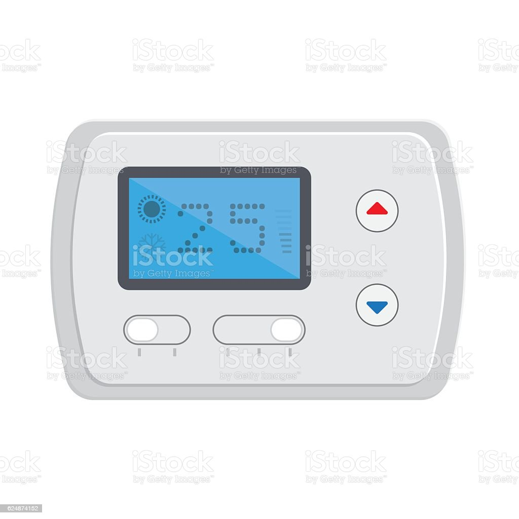 Temperature controller, electronic thermostat with a screen. vector art illustration