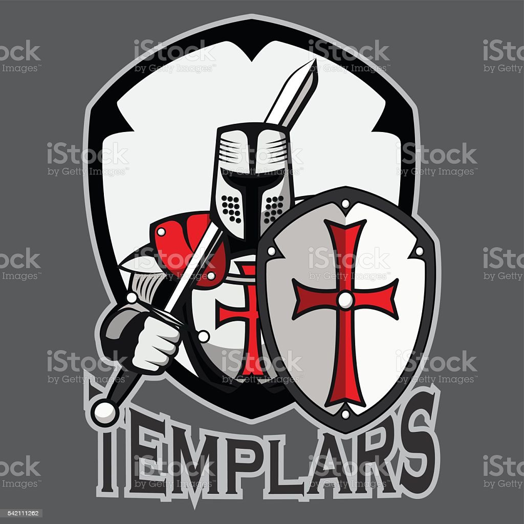 Templar badge vector art illustration