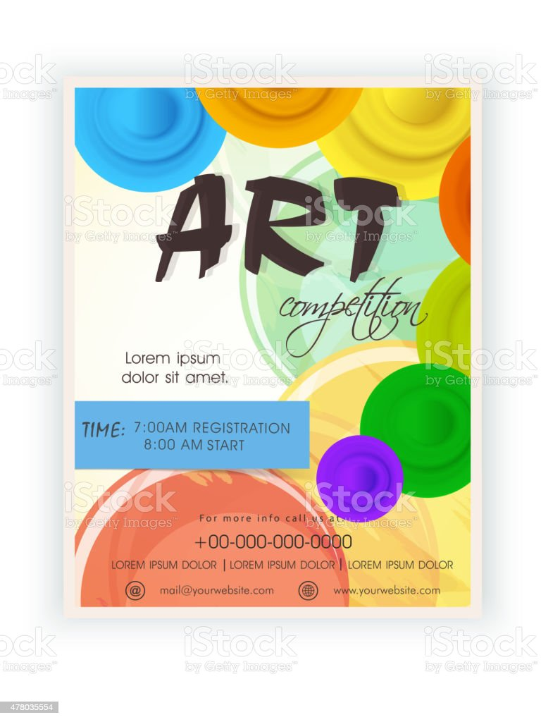 Template, brochure or flyer design for art competition. vector art illustration