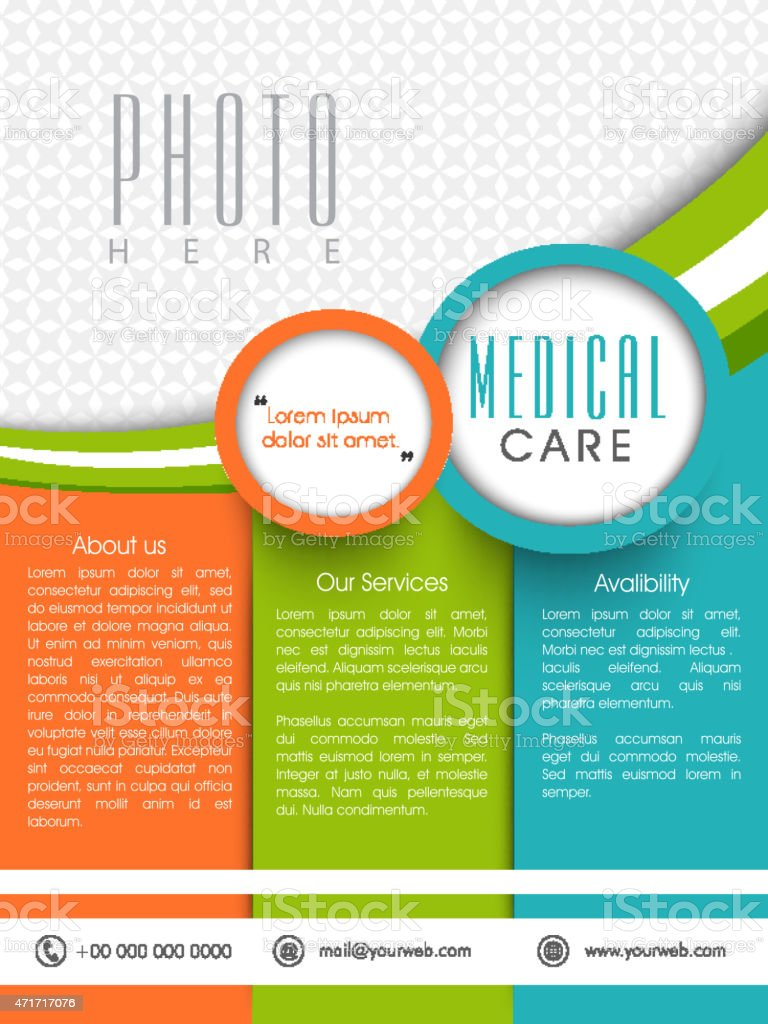 Template, brochure or flyer for Medical Care. vector art illustration
