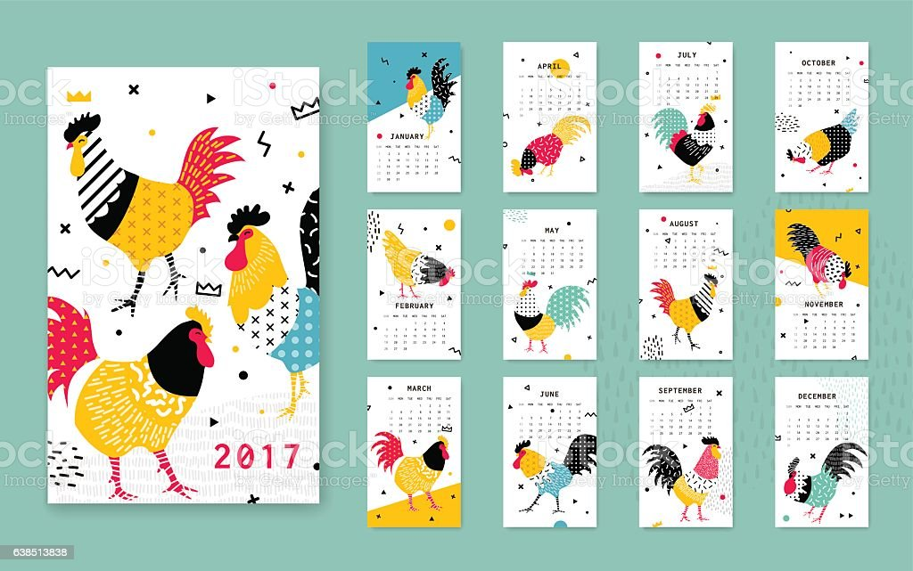 Template calendar 2017 with a rooster in Memphis style. vector art illustration