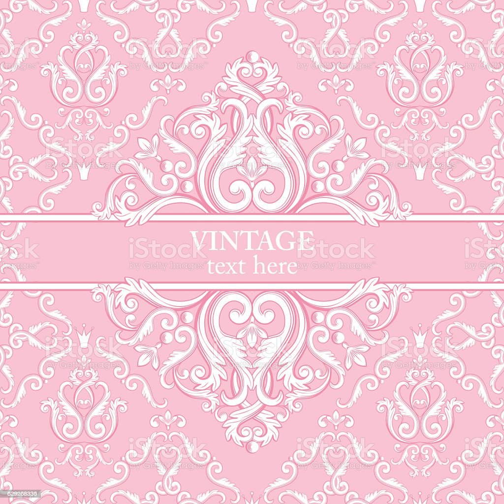 Template card with abstract baroque royal background in pink and vector art illustration