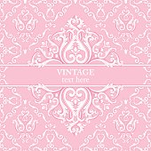 Template card with abstract baroque royal background in pink and