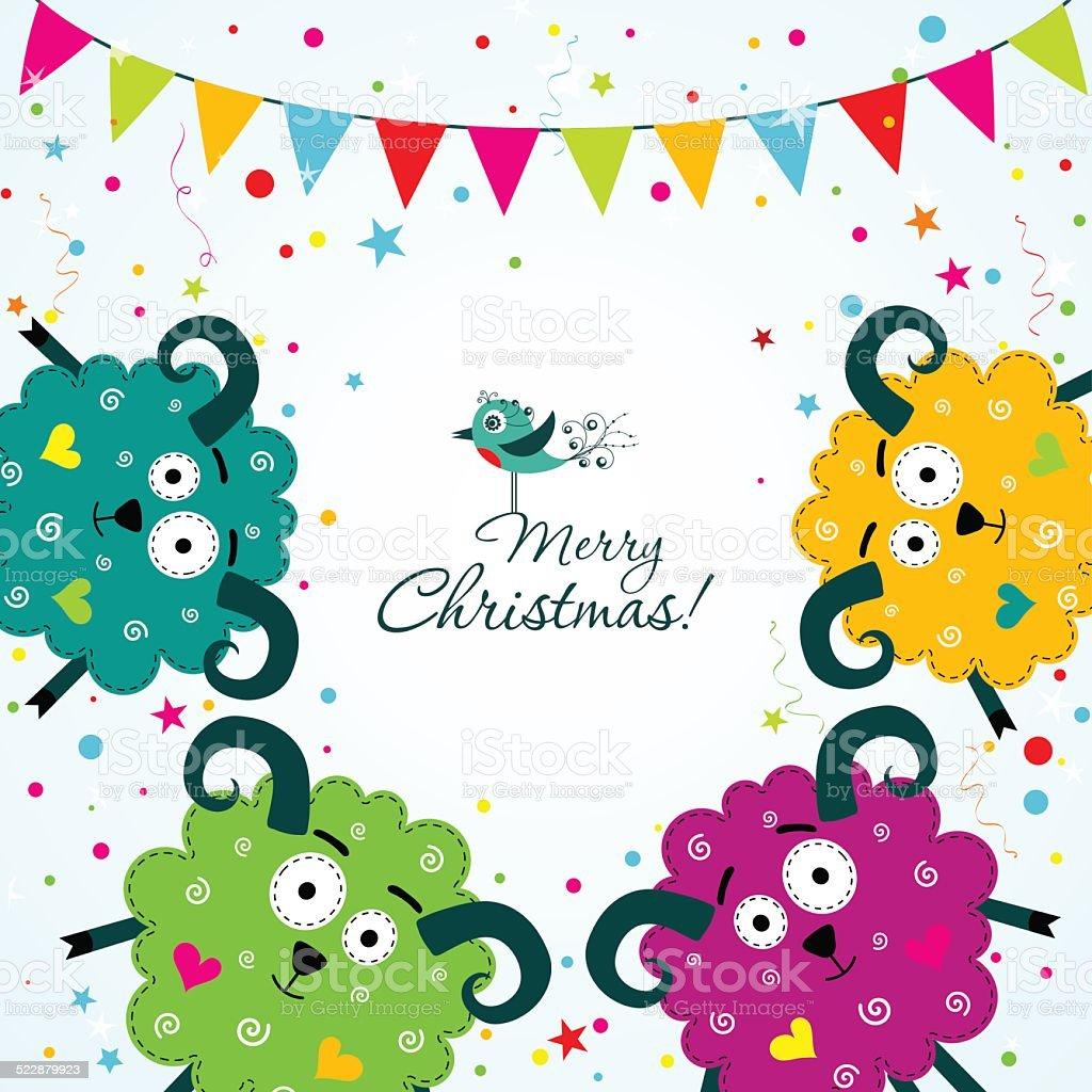Template Christmas greeting card, vector vector art illustration