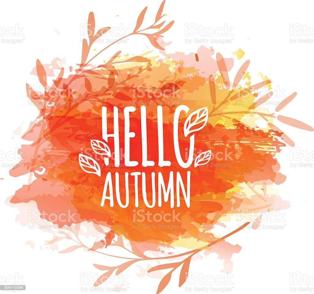 Template design of logo, stamp silhouette Hello, Autumn. vector art illustration