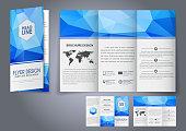 Template design three fold flyer, brochure