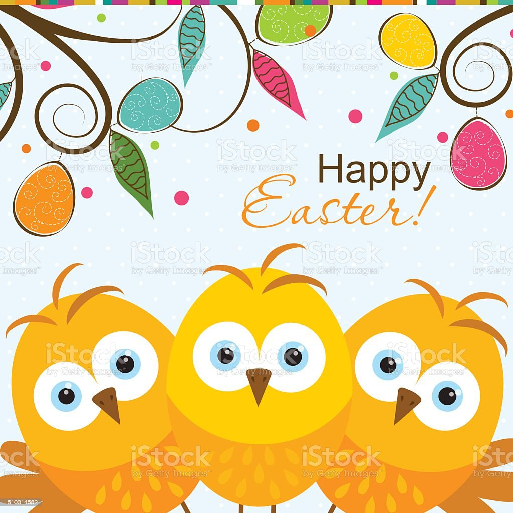 Template Easter greeting card, chick, vector vector art illustration
