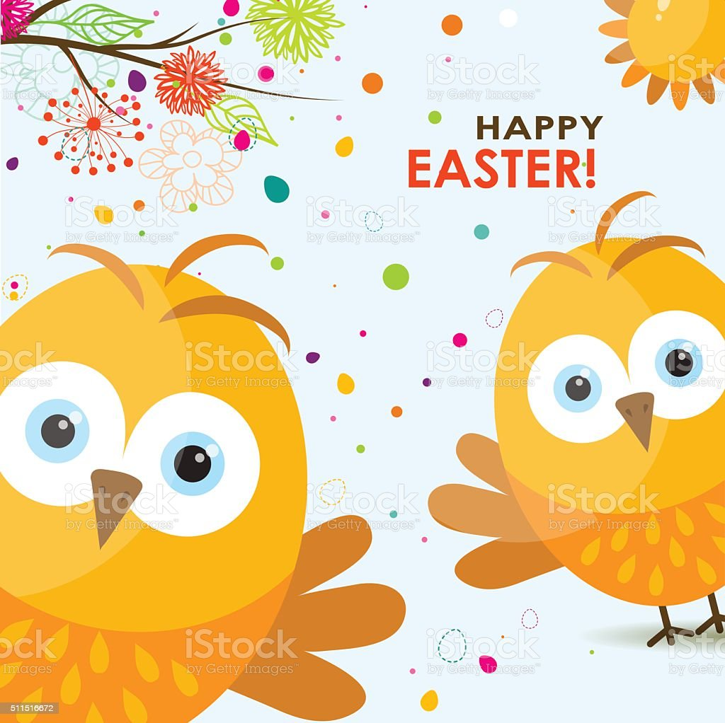 Template Easter Greeting Card Chick Vector Stock Vector Art