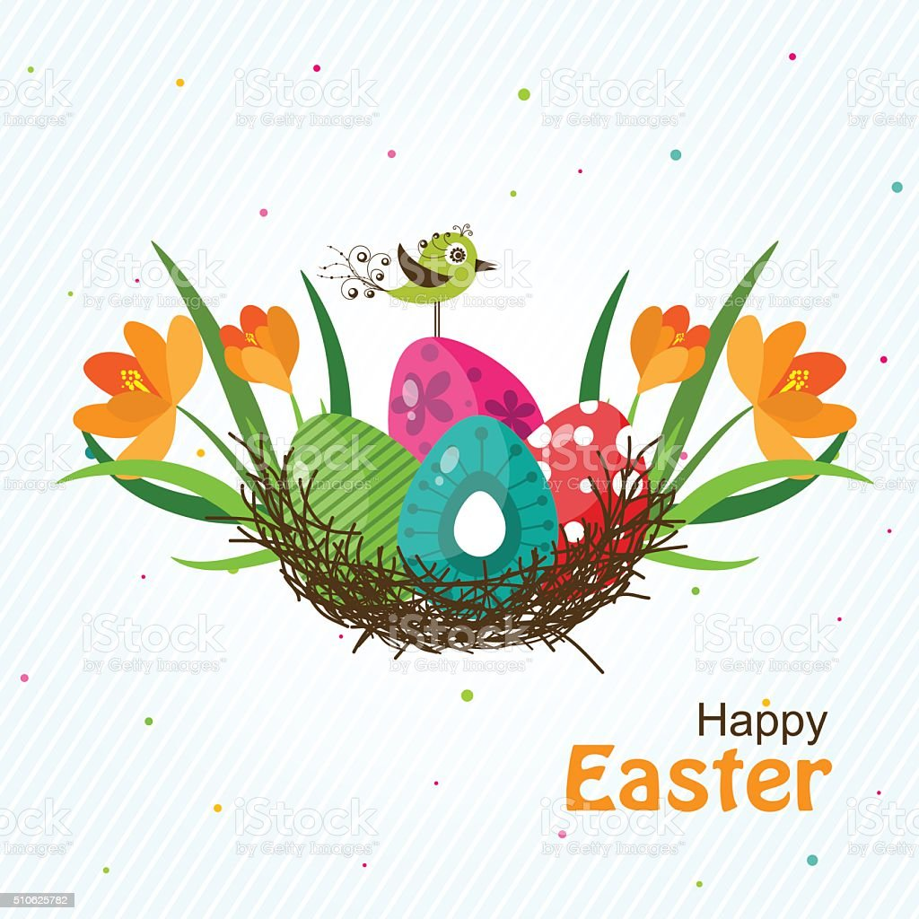 Template Easter greeting card, vector vector art illustration