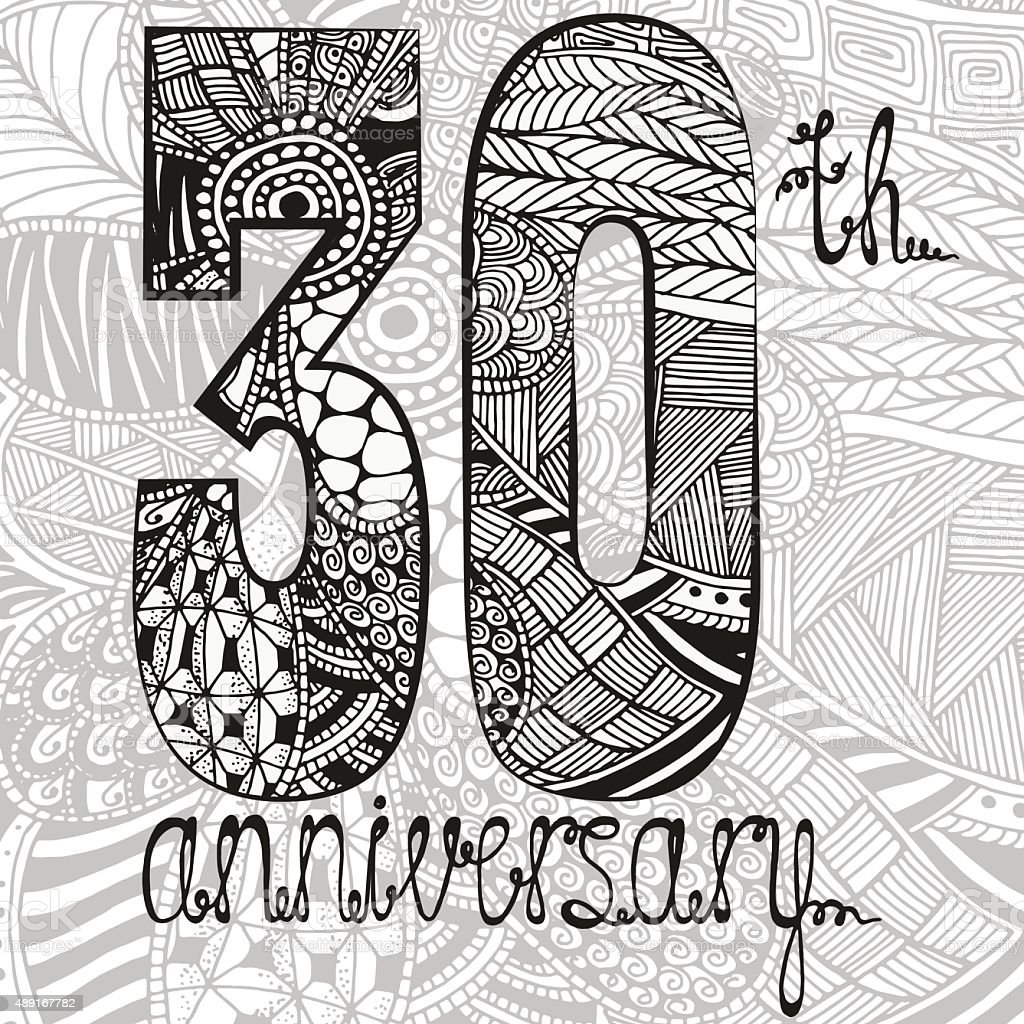 Template emblem 30th anniversary with zentangle pattern vector art illustration