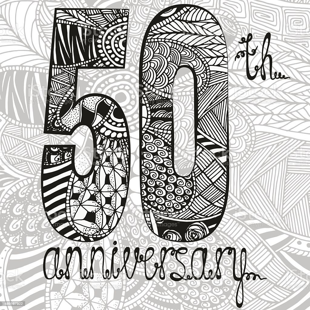Template emblem 50th anniversary with zentangle pattern vector art illustration