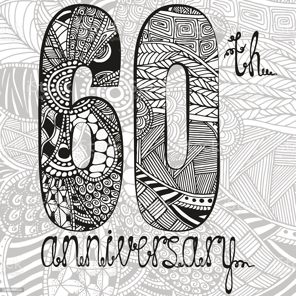Template emblem 60th anniversary with zentangle pattern vector art illustration