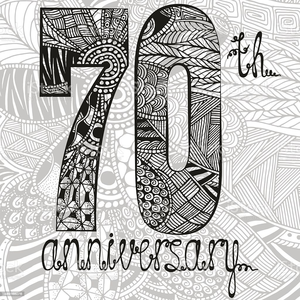 Template emblem 70th anniversary with zentangle pattern vector art illustration