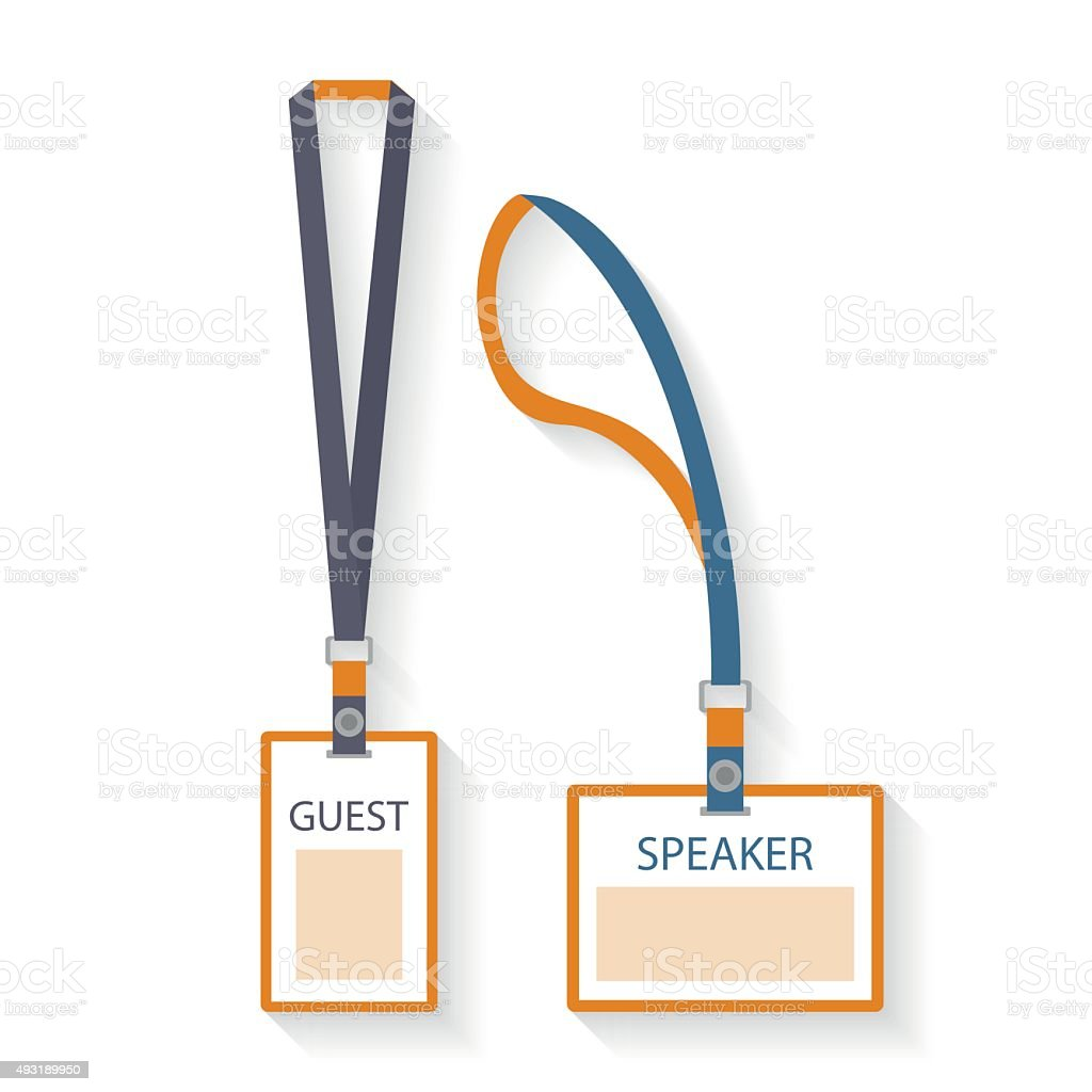 Template, flat design icons of lanyard and badge vector art illustration