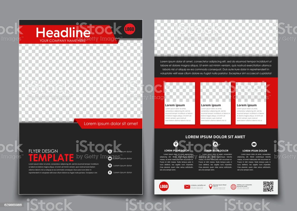 Template flyer black with red elements for printing. vector art illustration
