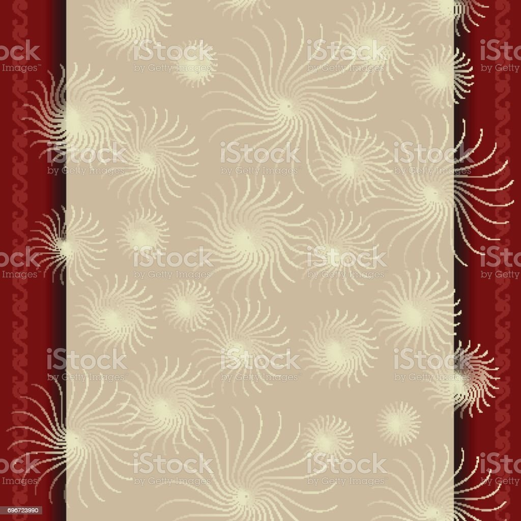 Template for a certificate with beige red border vector art illustration