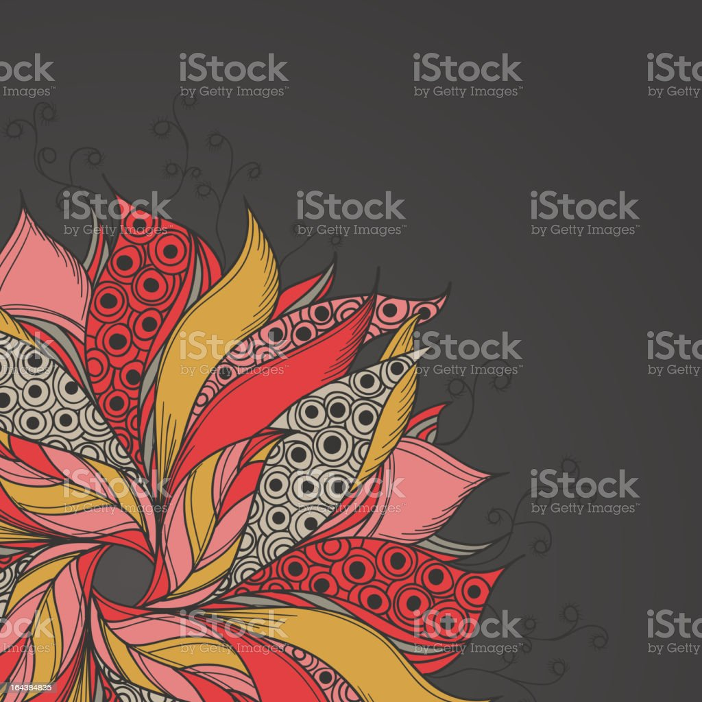 Template for card with fantasy flower royalty-free stock vector art