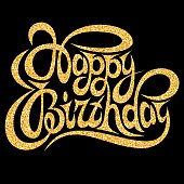 Template for greeting card happy birthday with gold calligraphic inscription