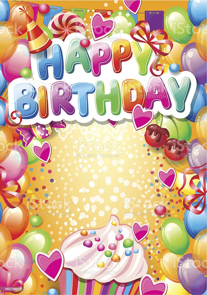 Template for Happy birthday card royalty-free stock vector art