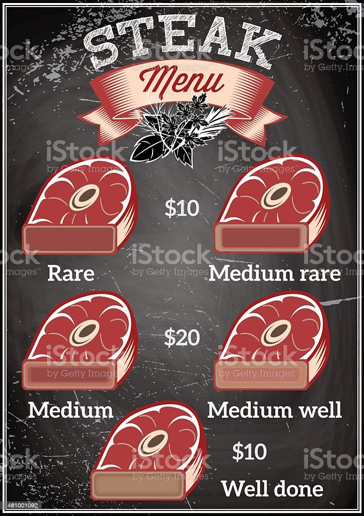 template for restaurant menu with steaks of varying degrees roasting vector art illustration