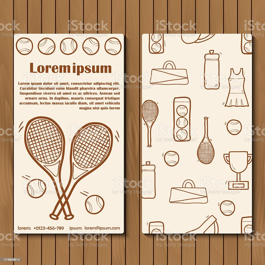 Template for tennis booklet, card of flyer with hand drawn vector art illustration