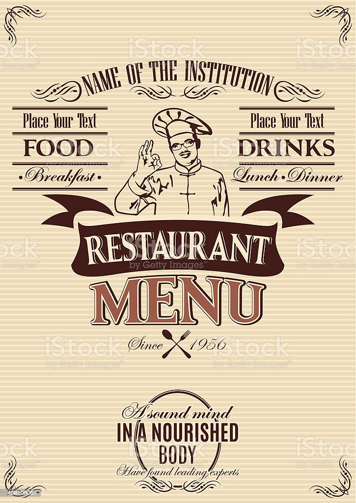 template for the cover of menu with chef royalty-free stock vector art