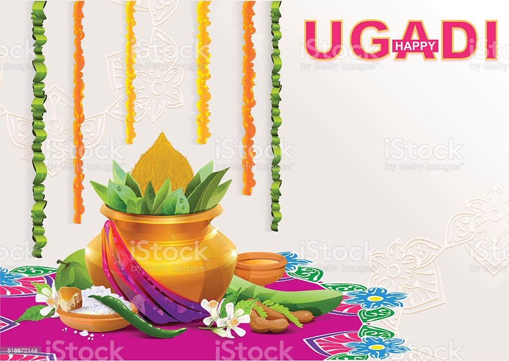 Template greeting card for holiday Ugadi. Gold pot with coconut vector art illustration