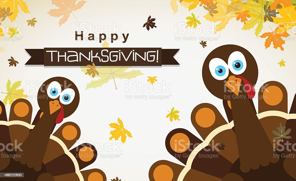 Template greeting card with a happy Thanksgiving turkey, vector vector art illustration