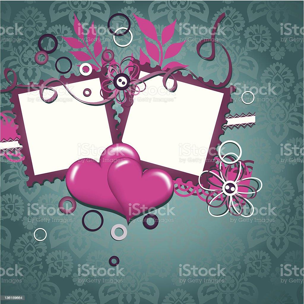 Template heart greeting card vector art illustration