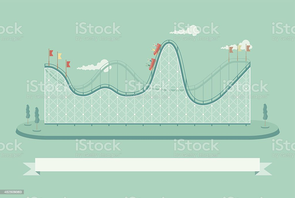 Template if a roller coaster with people on it vector art illustration