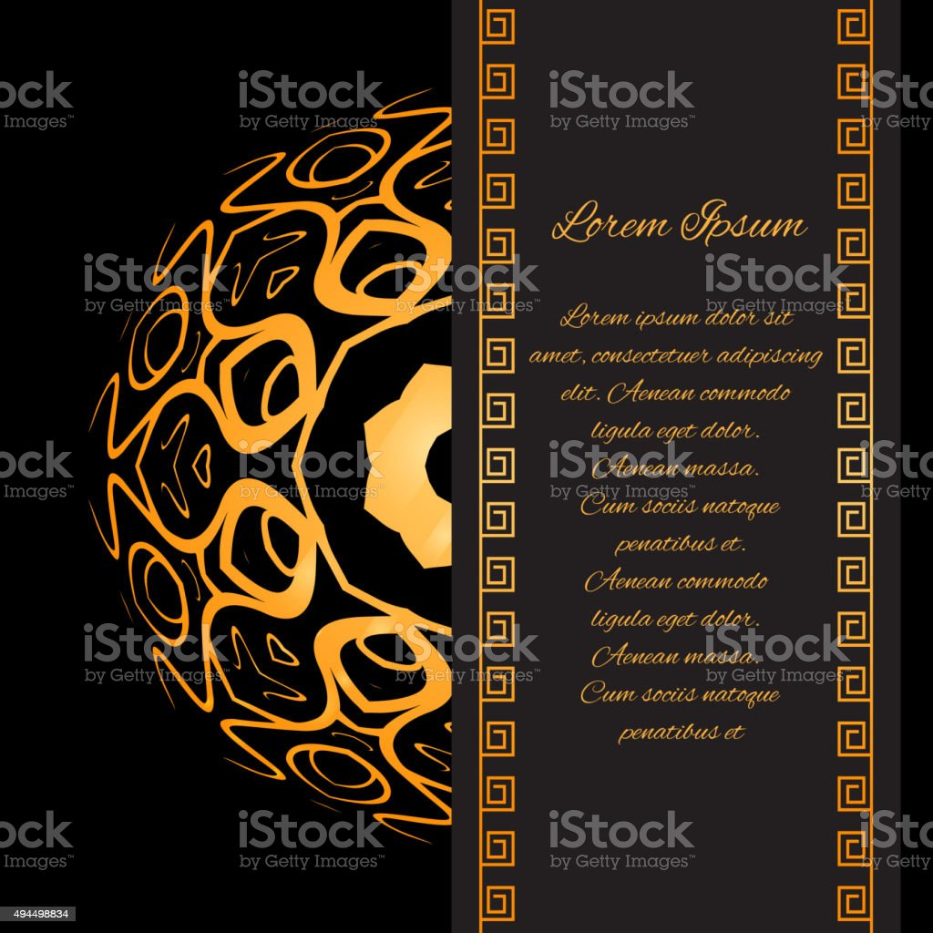 Template invitation with gold pattern vector art illustration
