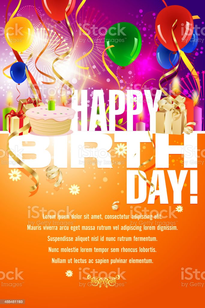 Template layout for happy birthday celebration royalty-free stock vector art
