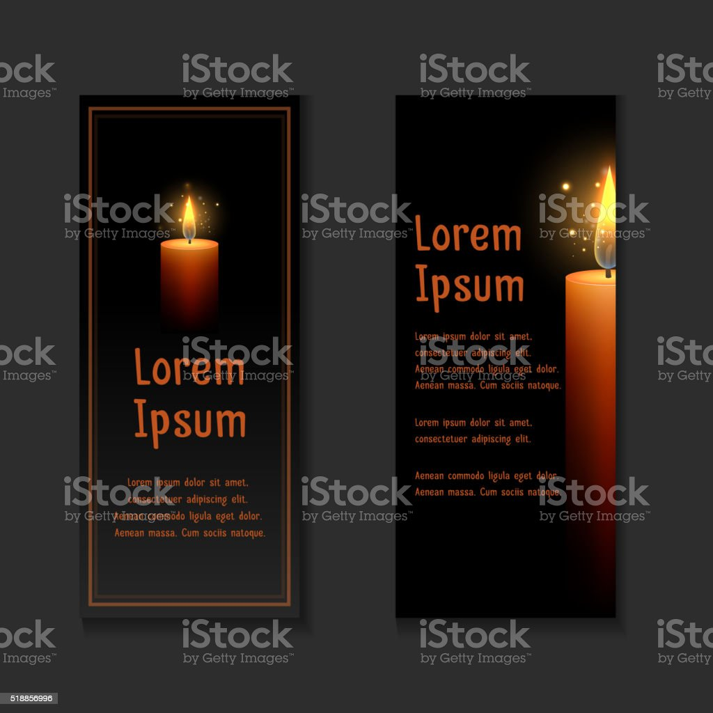 Template letters of condolence with burning candle in the dark vector art illustration